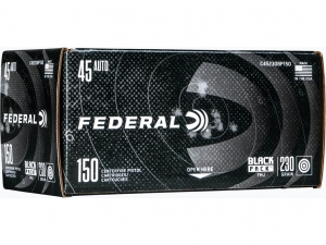Federal Black Pack .45 ACP, 230 Grain FMJ, 150 Rounds C45230BP150