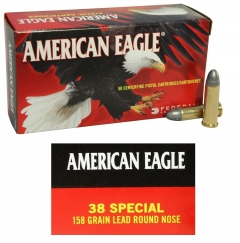 Federal American Eagle .38 Special, 158 Grain LRN, 50 Rounds AE38B