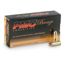 PMC Bronze 9mm, 115 Grain FMJ, 50 Rounds 9A