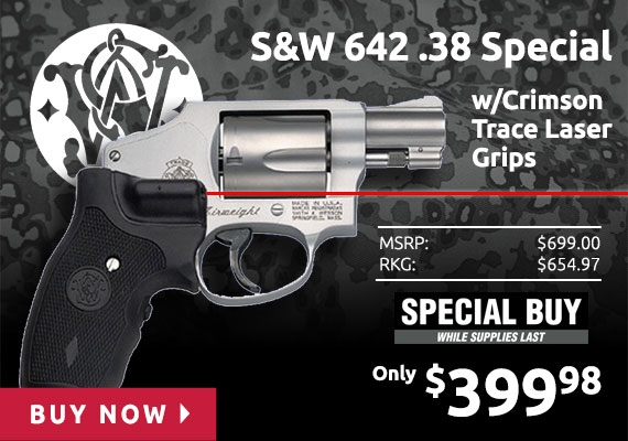 Smith & Wesson 642 CT .38 Special with Crimson Trace Laser Grips 163811